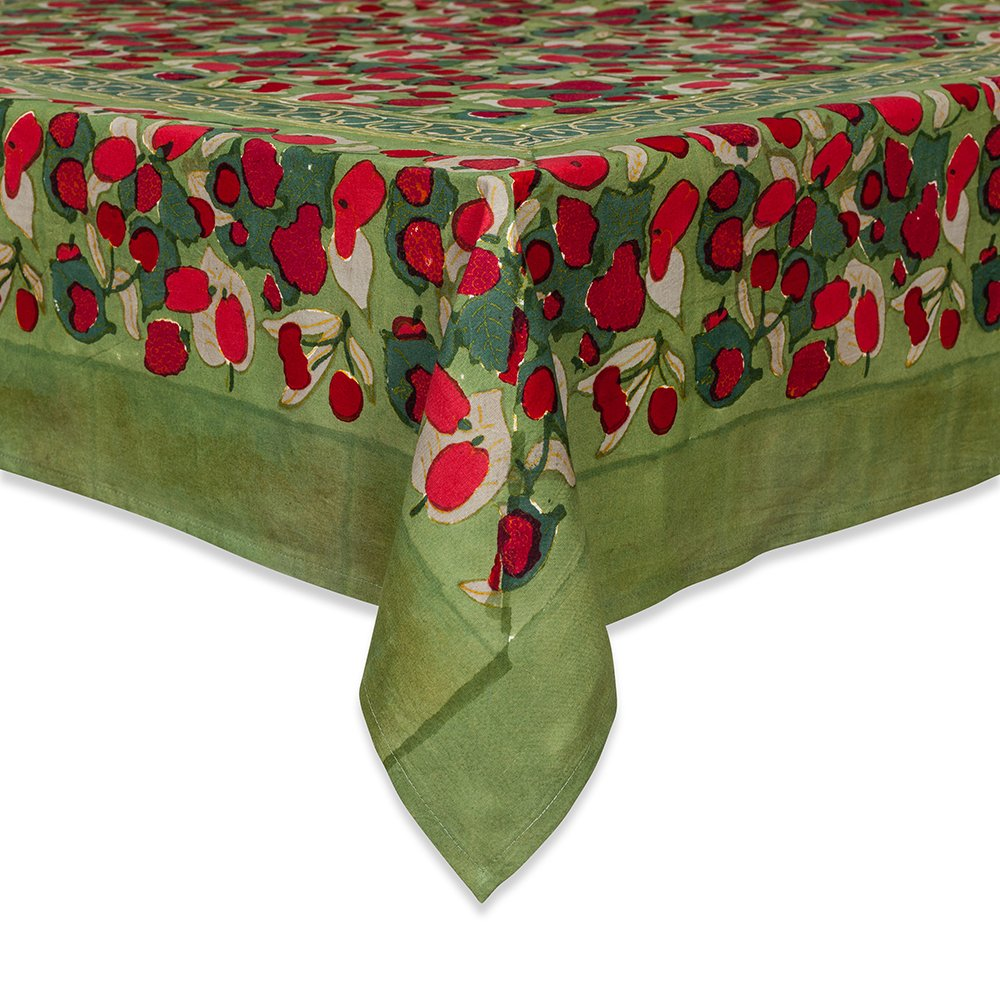 Couleur Nature 71-inches by 128-inches Fruit Tablecloth, Red/Green