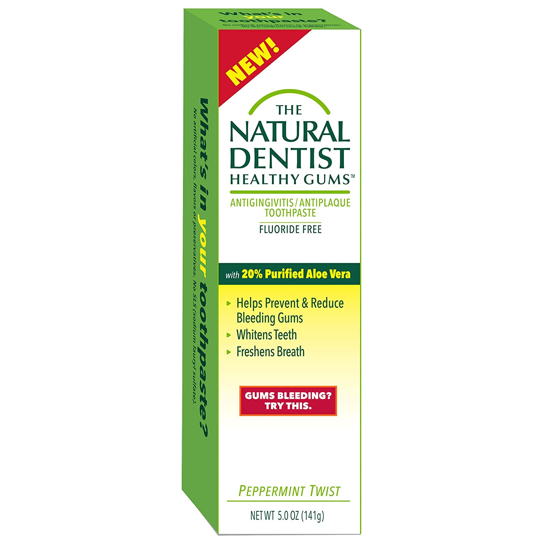 The Natural Dentist Healthy Gums Antigingivitis / Antiplaque SLS-Free Toothpaste with Aloe Vera, Peppermint Twist, 5 Ounce Tube