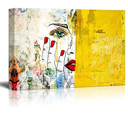 Fashion Coffee Girl Stretched Canvas Print Framed Wall Hanging Home Office Decor