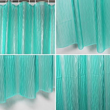 Amazon.com : Green Tree Cortina de ducha de EVA 3D con ganchos resistentes al Moho antibacteriano para baño Cortina de ducha, 72