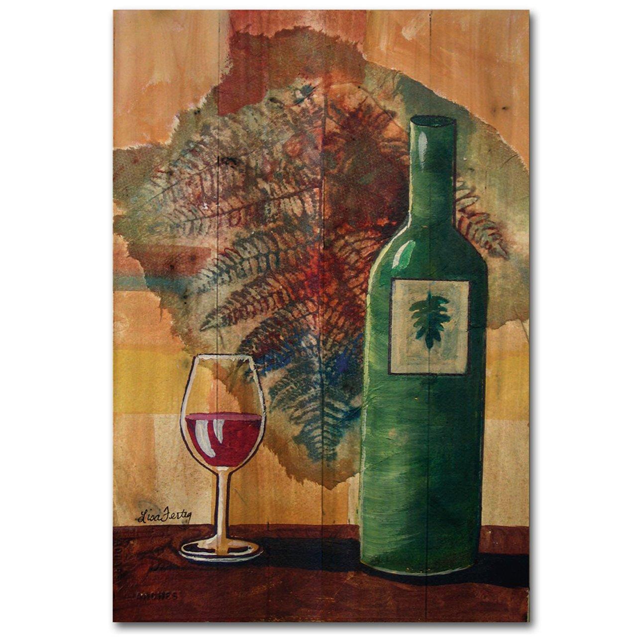 wgi-gallery 812ワインボトルとリーフ木製の壁アート B00LZVP6C0