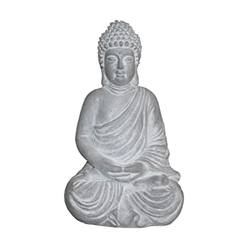 HOMEA 5dej1320bc Estatua Dibujo Buda Magnesia 28 x 22 x 43 cm, Color Blanco: Amazon.es: Hogar