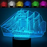 Sailboat 3D Optical Illusion Lamps, YKL World Amazing 7 Changing Colors Acrylic Touch Button Table Desk Night Light with 5 feet USB Cable Home Decor