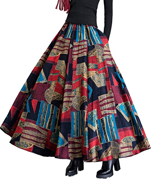 ceff366e2b Femirah Women's High Waist A Line Flared Long Skirt Winter Fall Maxi Skirt  (Waist: