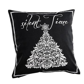 Deko Kompanie Kissen Silent Time Dekokissen Weihnachten Schwarz   Weiß  40x40cm