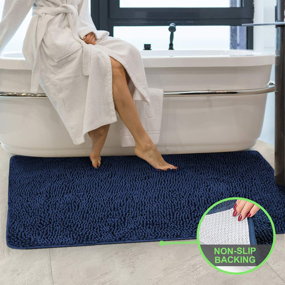 Secura Housewares Bathroom Rugs, Oversize 47'' x 28'' | Non Slip, Water Absorbent, Machine Washable Bath Mat Carpets | Ultra Soft, Fluffy, Thick Chenille Bath Mats for Doors, Bathroom, Kitchen | Blue