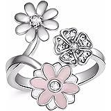 925 Sterling Silver Fashion Poetic Blooms Flower Women Open Ring for Women, Adjustable