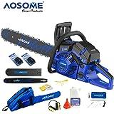 AOSOME Tronçonneuse thérmique 62 cc - Longueur de guide de 50cm - + 2 chaine, sac de transport et kit d'outils/cache