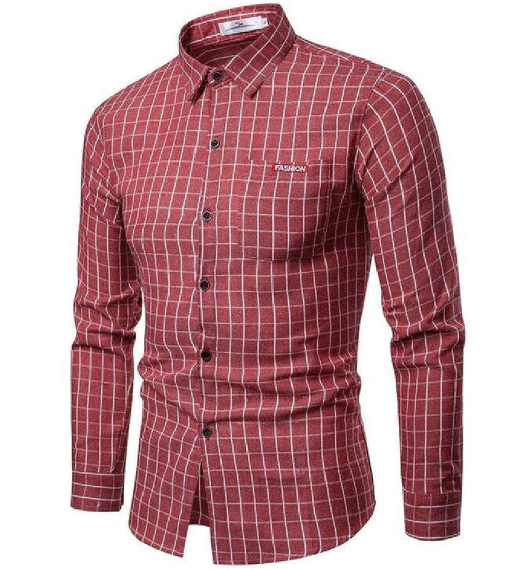 Nanquan Men Long Sleeve Slim Fit Casual Plaid Print Button Up Flannel Checkered Shirt