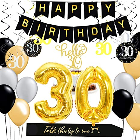 1 Set 30Th Birthday Party Supplies For 30 Gold Him//Her Sash Happy Banner Decor