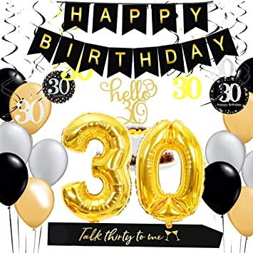 Amazon Com 30th Birthday Decorations Kit Gold 30 Number Balloons