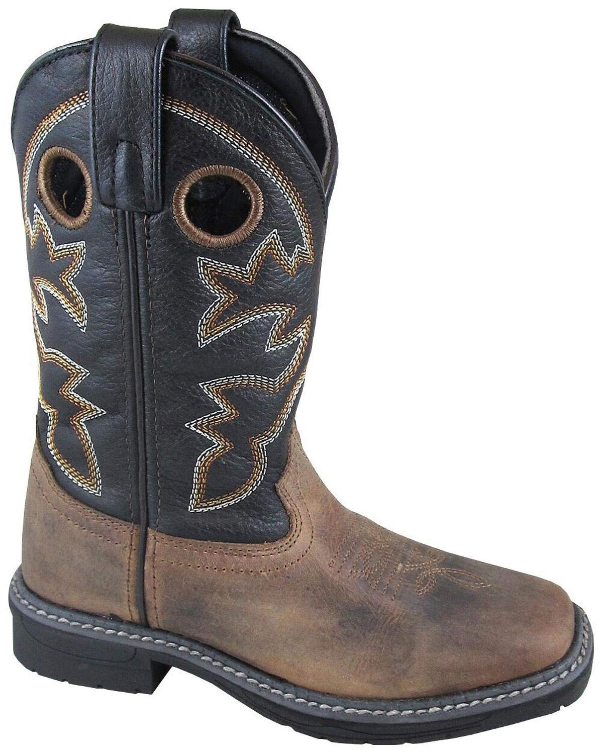 Smoky Mountain Boys' Stampede Western Boot Square Toe Brown 5 D
