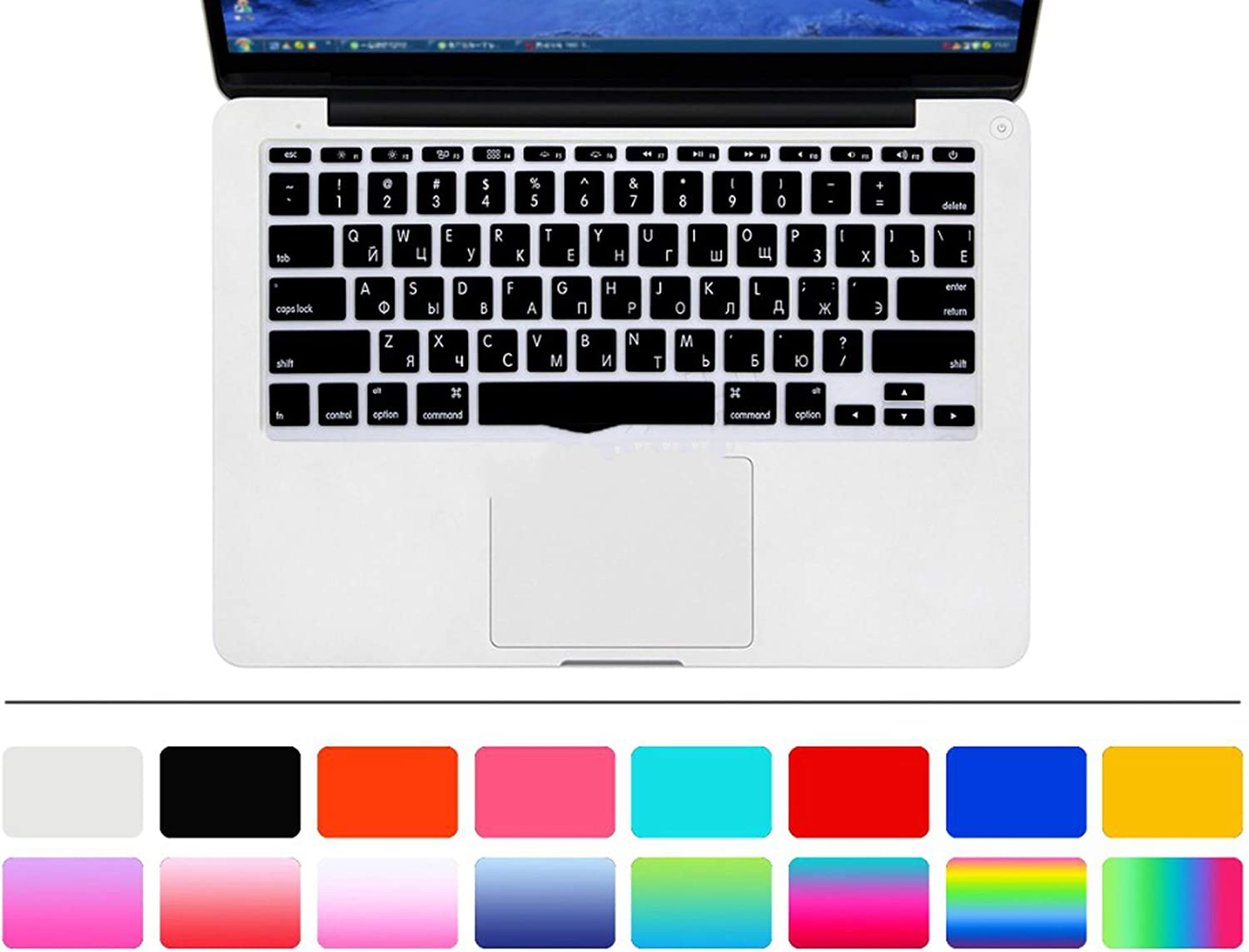 2pcs Letter Silicone US Keyboard Cover Skin Protector Protective Film for MacBook Air 11.6 Inch for Mac Air 11-one/_Color