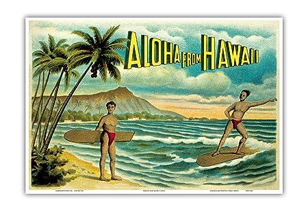 Pacifica Island Art Aloha de Hawaii - Famoso Surf Jinete - . Isla ...