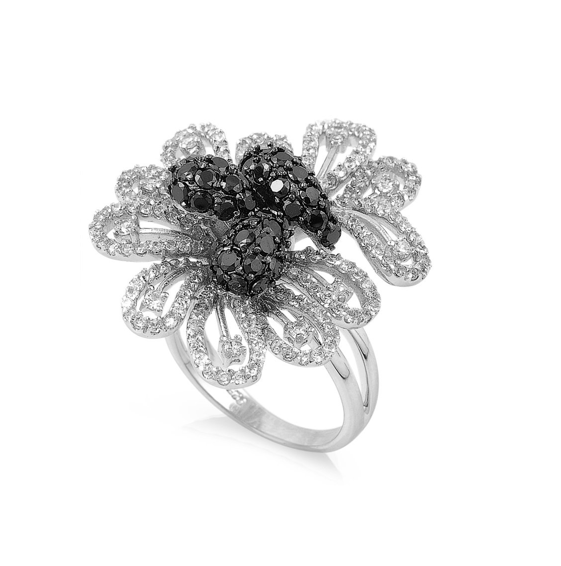 Clear Cubic Zirconia Hera Flower Ring 925 Sterling Silver Size 8