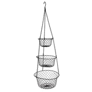 MELODY OLINA 3 Tier Hanging Fruit Or Vegetable Kitchen Storage Baskets In  Black