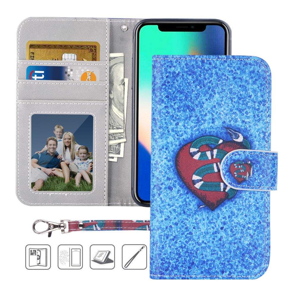 iPhone X Wallet Case,iPhone X Case,MagicSky Premium PU Leather Flip Folio Case Cover with Wrist Strap,Card Slots,Cash Pocket,Kickstand for Apple iPhone X 5.8 inch (Snake)