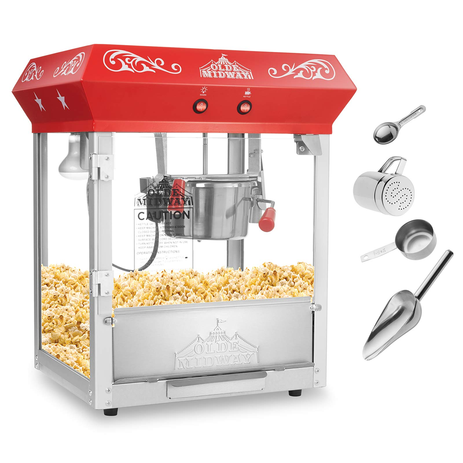 Olde Midway Bar Style Popcorn Machine Maker Popper with 6-Ounce Kettle - Red by Olde Midway