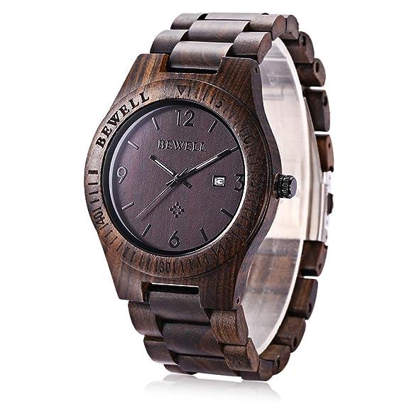 Bewell ZS - W086B Reloj de Madera para Hombre Movimiento Analógico Cuarzo Visualización de Fecha: Amazon.es: Relojes