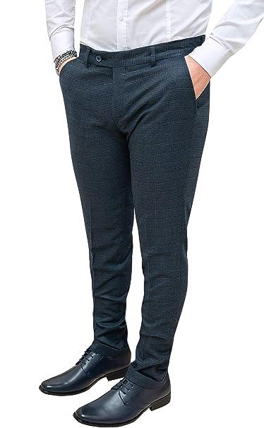 ae79e8a180d1 Mat Sartoriale Pantaloni Uomo Blu Grigio Quadri Slim Fit Invernali Eleganti:  Amazon.it: Abbigliamento