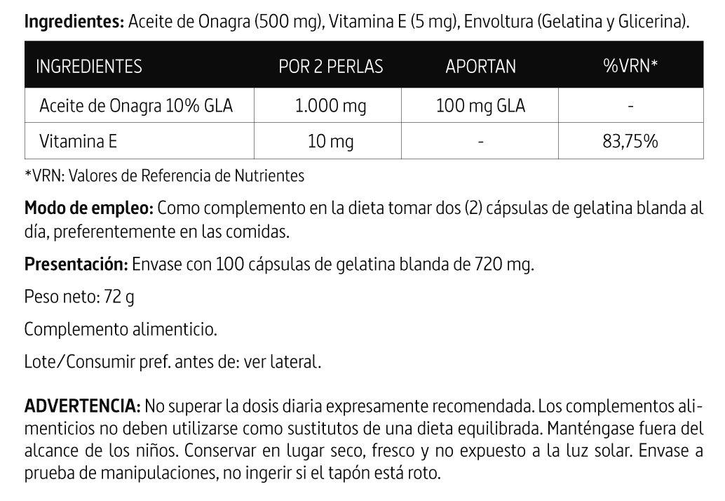 Aceite de Onagra 1.000 mg (10% GLA) de Nature Essential - 100 Perlas: Amazon.es: Salud y cuidado personal