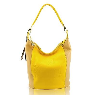 0e9c949e7e9 Amazon.com: GUIA'S Italian Made Yellow Calf Leather Designer Bucket ...