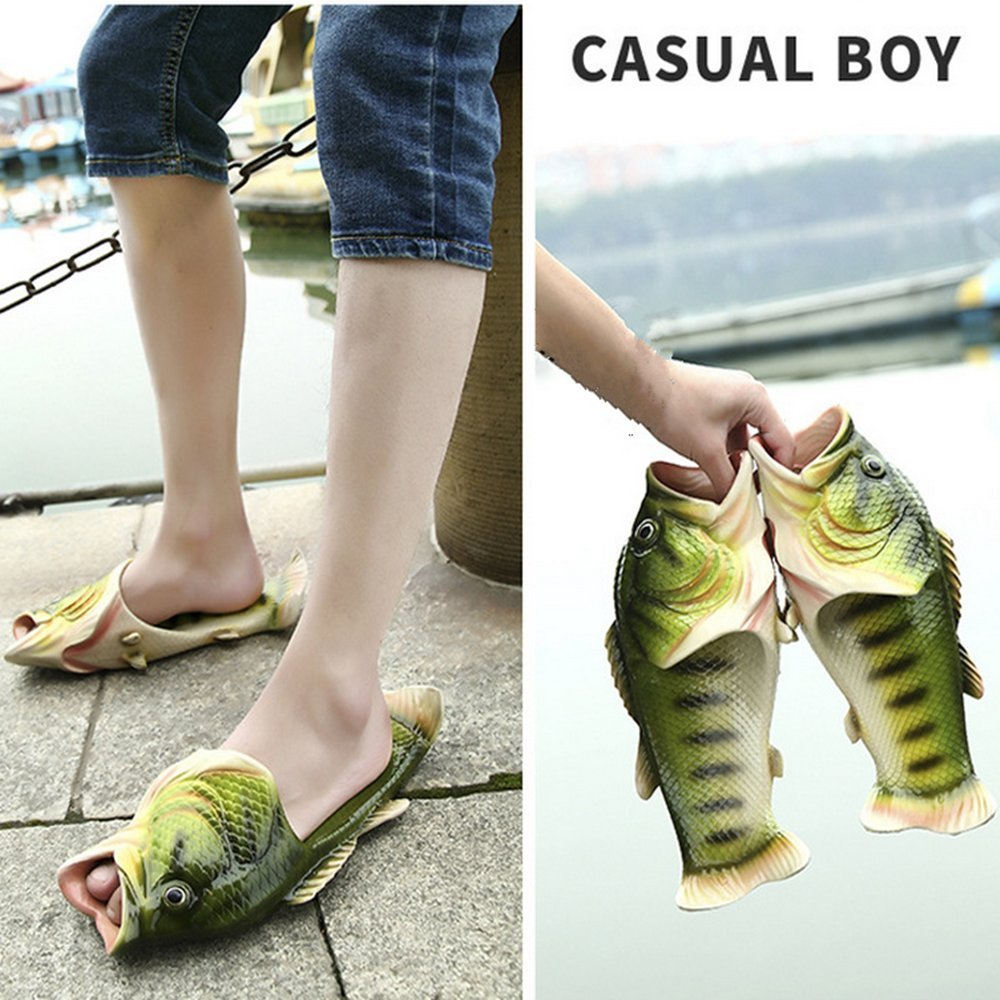 3 colors Fish slippers Beach Shoes Pool Non-slip Sandals Creative Hand painted Fish Slippers Men and Women Casual Shoe Beach and home use (red, woman (7-8) / Male(6-6.5)) by BING RUI CO (Image #4)