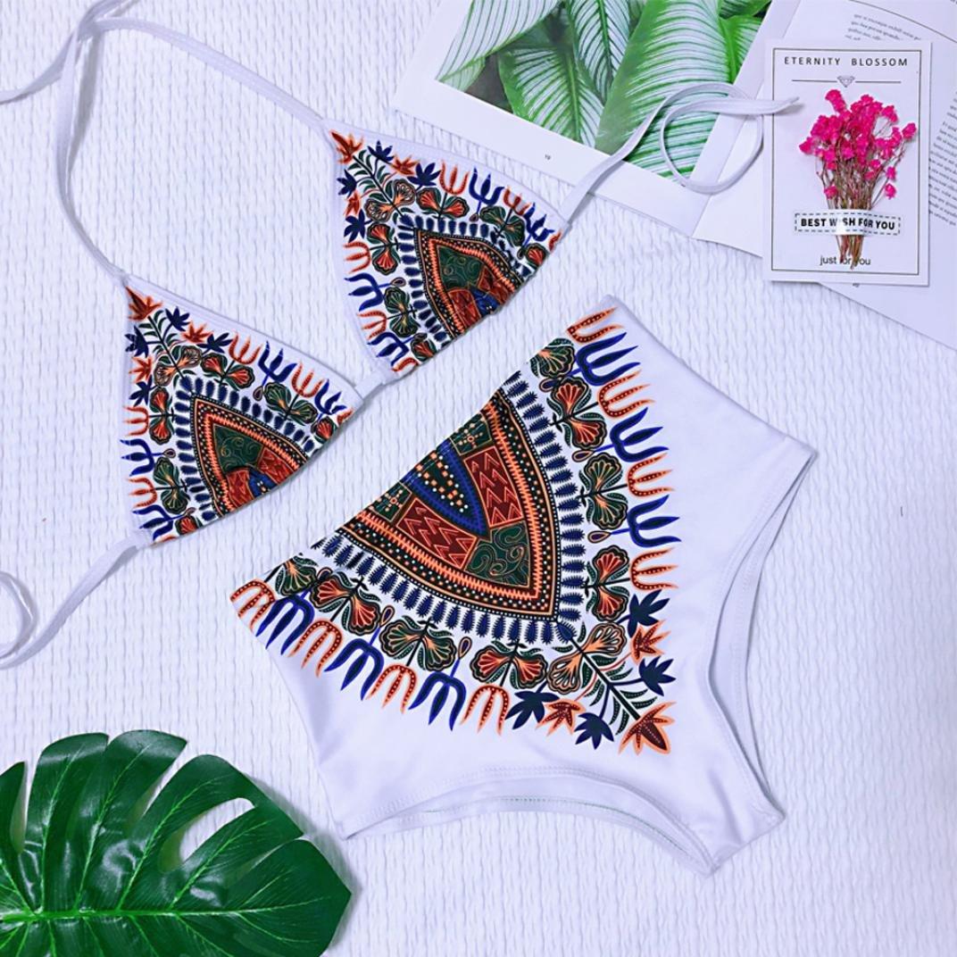 PAOLIAN Trajes de baño de Dos Piezas Bikini Sexy Mujer Verano 2018 Ropa de Playa Bañador Embroidered Floral Tankinis señora Ropa de baño triángulo Correa ...