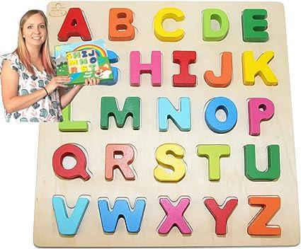 Spielerisches Lernen des Alphabetes 100 Teile Buntes ABC Holzspielzeug ca
