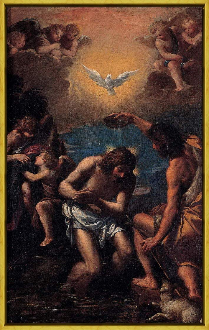 Berkin Arts Scarsellino Framed Giclee Print On Canvas-Famous Paintings Fine Art Poster-Reproduction Wall Decor(Baptism Christ)#XLK