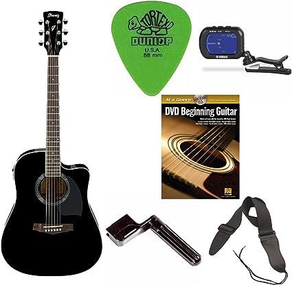 Ibanez PF15ECE PF - Guitarra acústica eléctrica (color negro) + ...