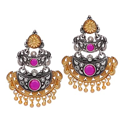 d33302da4 Buy Jaipur Mart Rajasthani Two Tone Oxidised Silver & Gold Plated Red Stone  Studded Vintage 2 Layer Dangler Earrings Jewellery For Women Online at Low  ...