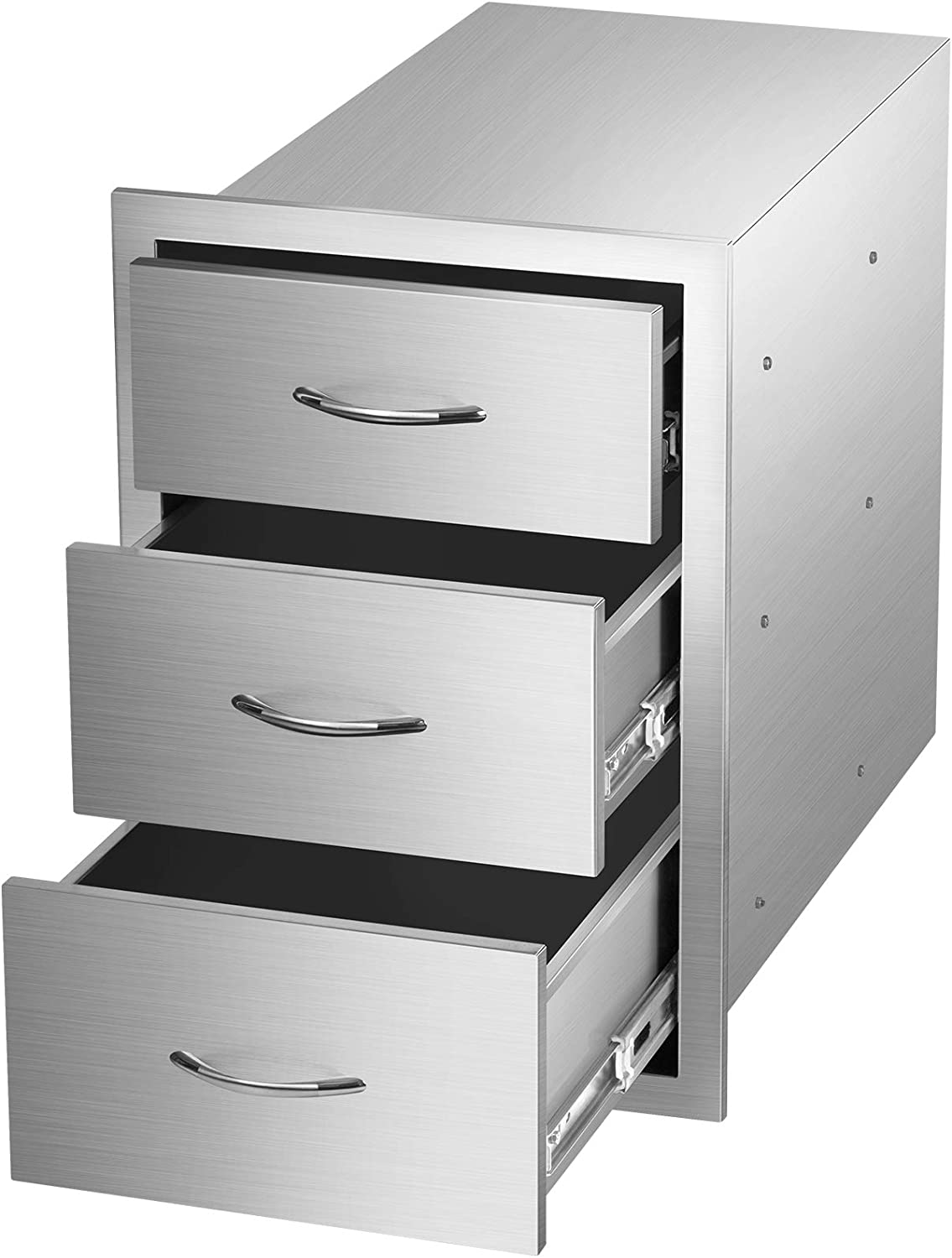 Outdoor Barbecue Drawers, Stainless Steel Kitchen Drawers with Handle,3-Layer Design,Outside Flush Mount Storage Cabinet for Restaurant or Home,BBQ Island,Patio Grill Station(14.2W x 20.6H x 23D)