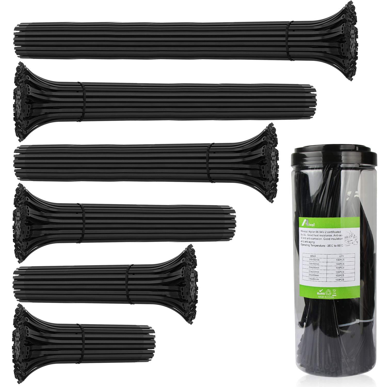 ケーブルタイ、Aival自動ロック式Zip Ties、プレミアムHeavy Dutyナイロンケーブルジップタイ、強力なケーブルタイZip Ties 6インチ長、熱& UV防止プラスチックケーブルワイヤタイブラック&ホワイト100個   B0773MHY7Z