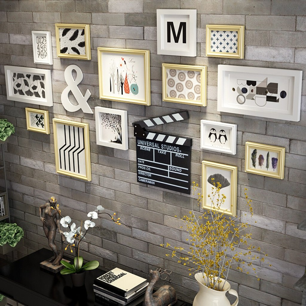 P SET Of 14 Collage Frames, Photo Frames For Wall Solid Wood Modern Style Home Decoration Combination Hanging Wall / Including Pictures / with Decoration ( Color : B )