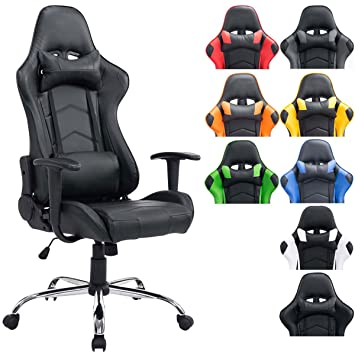 CLP Silla Racing XXL Miracle en Cuero Sintético I Silla Gaming Regulable en Altura I Silla Gamer con 2 Cojínes Removibles I Color: Negro/Negro: Amazon.es: ...