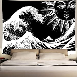 Sun Moon Tapestry Psychedelic Waves Wall Hanging Bohemian Tapestries for Bedroom Aesthetic Black Mandala Indian Home Décor (51.2 x 59.1Inches)