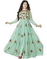 Dealbazaars Women's Georgette Dress Material (Dl896-A_Green_Free Size)