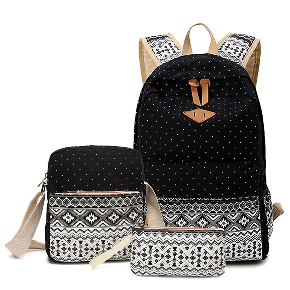 Hitop Geometry Dot Casual Canvas Backpack Bag, Fashion Cute Lightweight Backpacks + Shoulder Bag + Purse/Pen case for Teen Young Girls (Black(1 set))