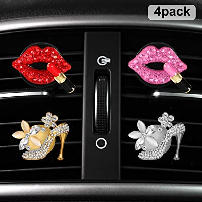 Boao 4 Pieces Car Air Vent Clip Charms Air Vent Decoration, Rhinestone Lipstick and Crystal High Heel Shoe Car Air Freshener Clip with Fragrance Cotton Pads: Automotive