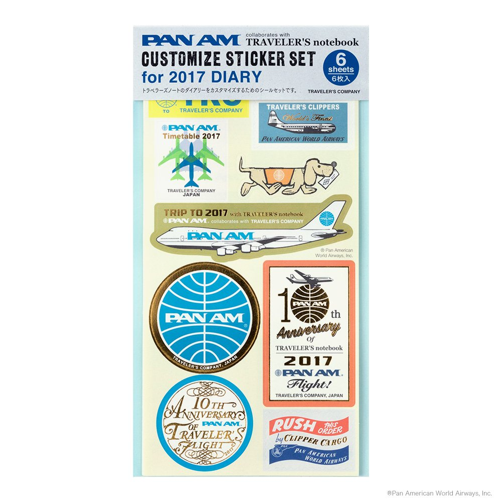 Amazon com midori travelers notebook customized sticker set for 2017 diary pan am office products