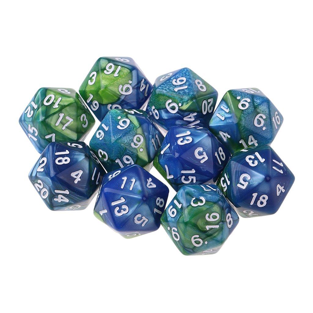 D DOLITY Dados D20 de Acr/ílico 20 Caras para Juego de rol Juego de Mesa 10 Unids Azul Blanco