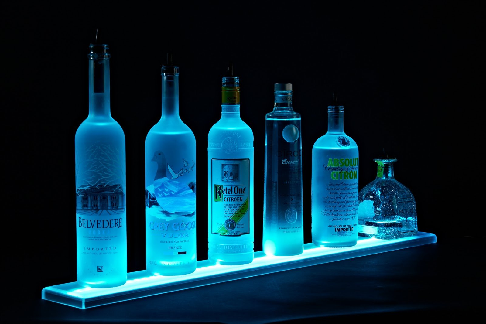 LED Liquor Shelf and Bottle Display (6 ft length) - Programmable Shelving Includes Wireless Remote, Wall Mounts, and Power Supply