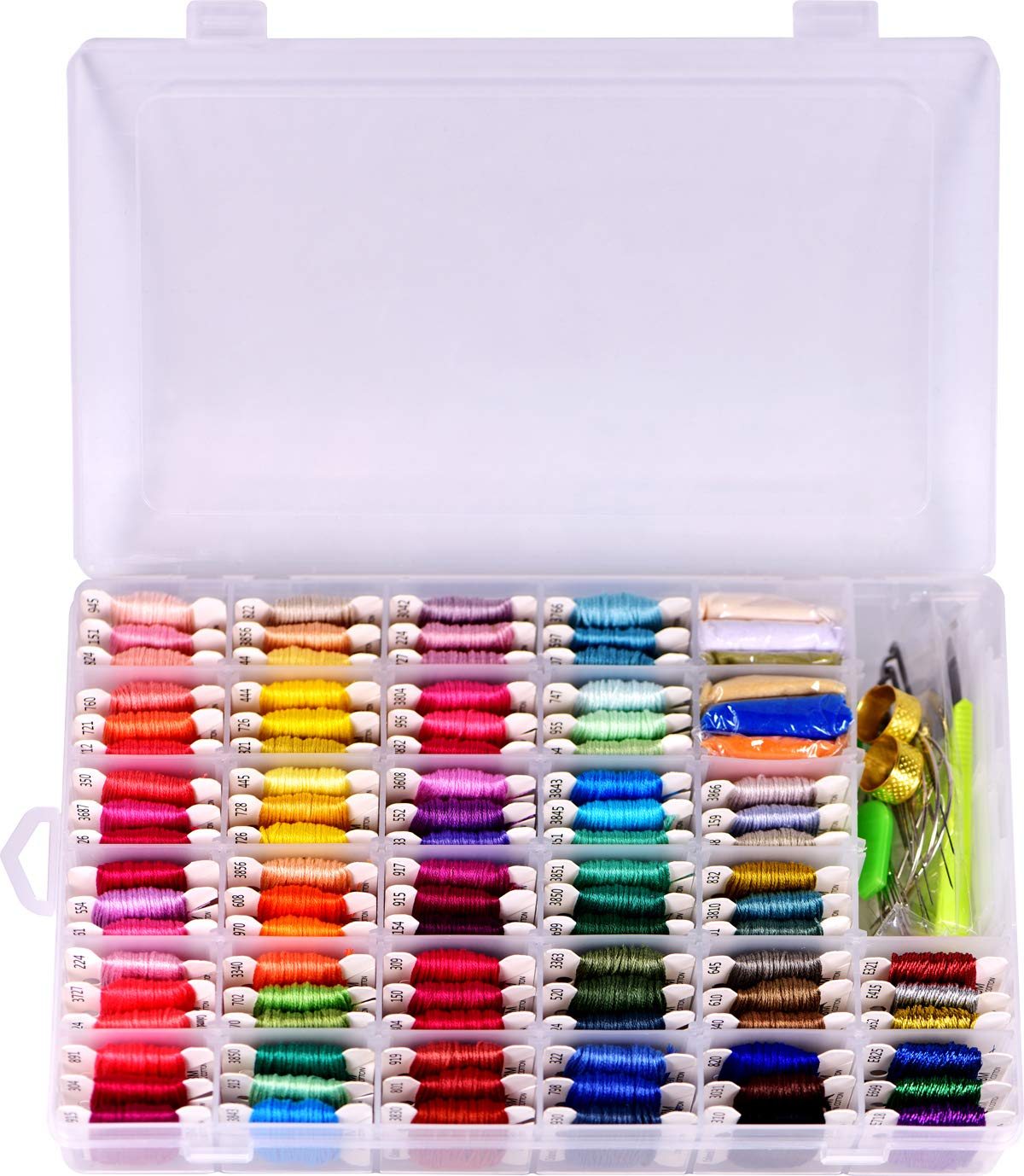 Embroidery Floss with Organizer Storage Box 125pcs String Kits 100% Long-Staple Cotton Bracelets String, Metallic Embroidery Thread, Colorful Wool Roving and Floss Bobbins with Cross Stitch Tool Kits cq