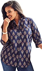 e21cc62356091 Roamans Women s Plus Size Three-Quarter Sleeve Kate Shirt