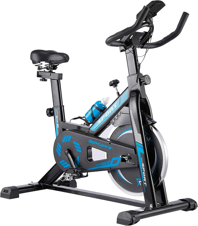 WENHAUS Bicicleta estática para Interior con Pantalla LCD, con reposabrazos Acolchado, Volante de inercia de 10 kg, Bicicleta de Velocidad con transmisión por Correa silenciosa, Color Rojo y Azul
