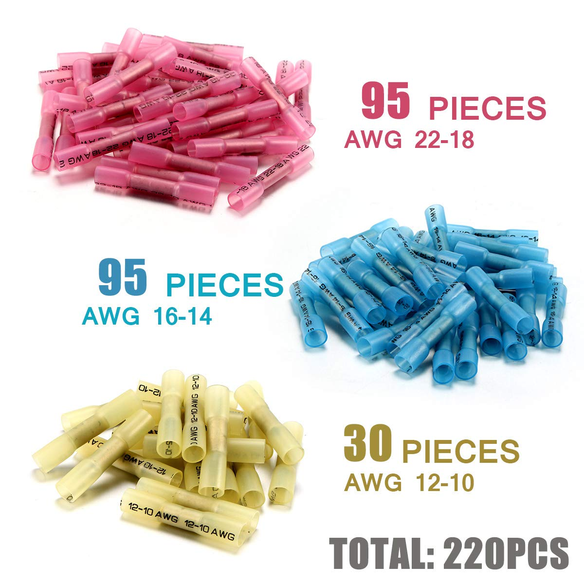 Waterproof Wire Connectors Terminals Insulated Marine Automotive Copper Connector Kit 220PCS Heat Shrink Butt Connectors Sopoby Electrical Connectors 3 Colors//3 Sizes