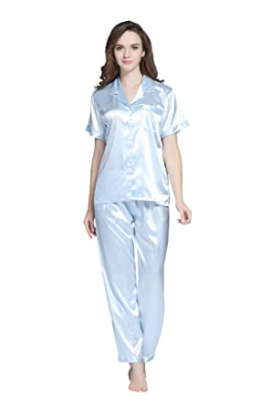 2f57f7b6e4cc TONY AND CANDICE Women s Sleepwear Short Sleeve Satin Pyjama Set ...