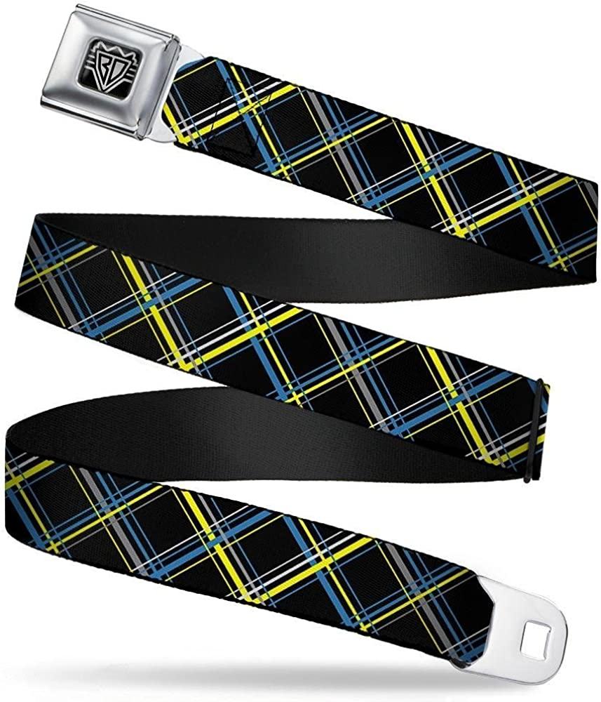 Plaid Black//Yellow//Turquoise//Gray Buckle-Down Seatbelt Belt 1.5 Wide 24-38 Inches in Length