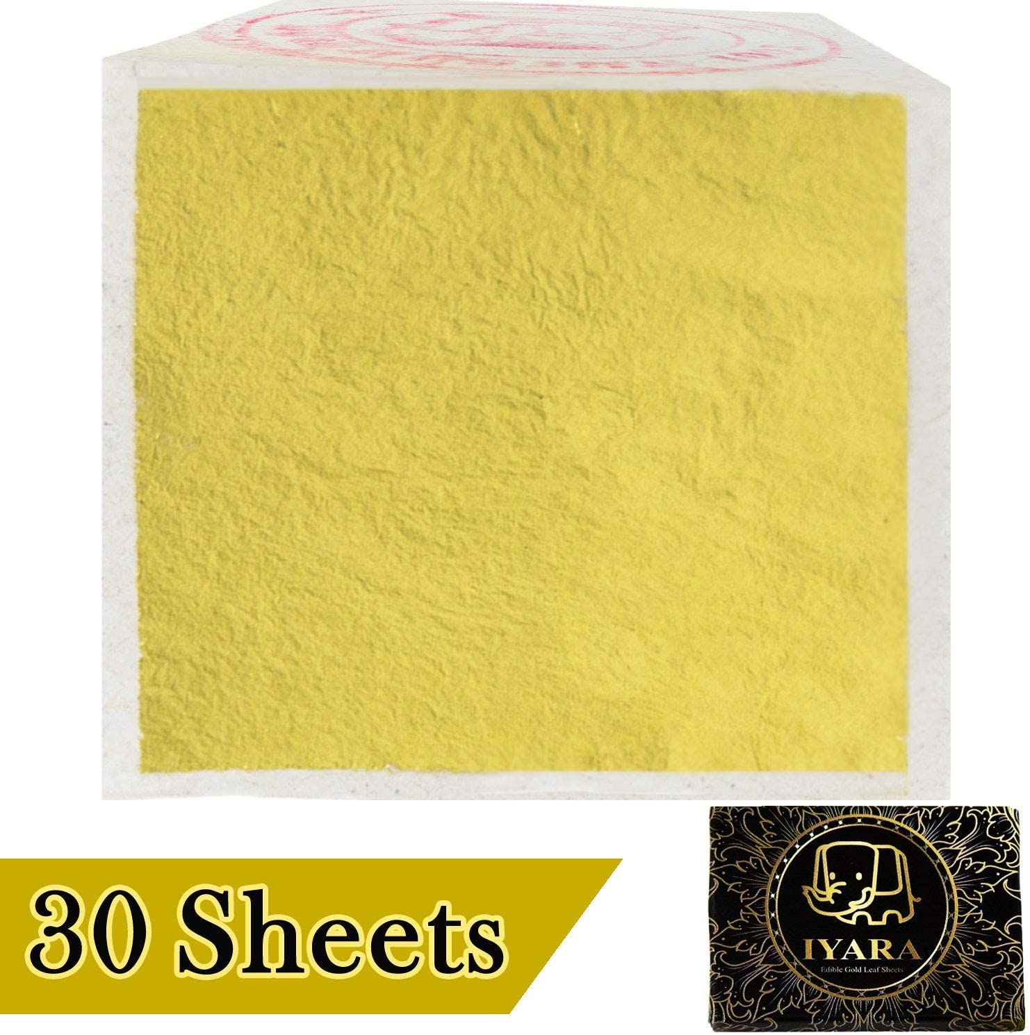 """IYARA 30 Edible Leaf Sheets – Multipurpose 24 Karat Yellow Gold Leaves for Food and Cake Decoration, Spa Anti-Wrinkle Face Masks, Art, Crafts, Gilding, Restoration, DIY Projects (1.2"""" x 1.2""""),"""